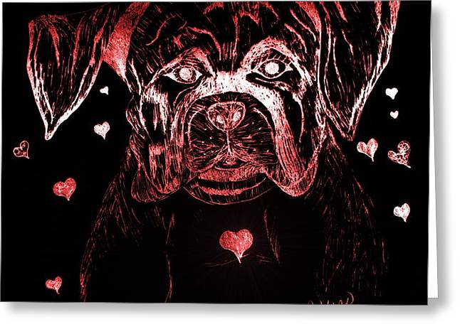 Puppy Love Greeting Card by Maria Urso