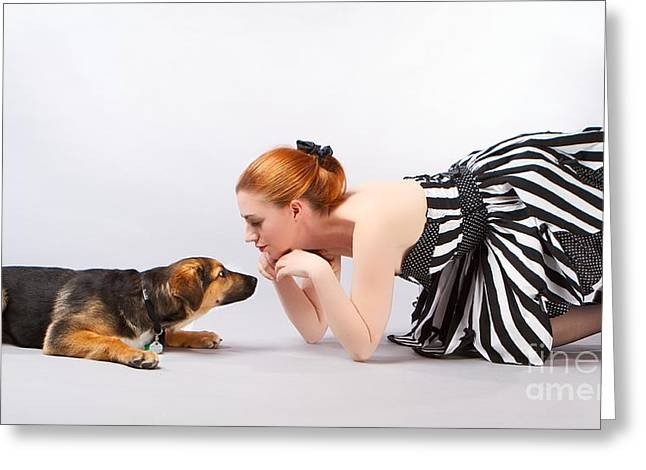 Puppies Photographs Greeting Cards - Puppy Pinup Greeting Card by Darcy Evans