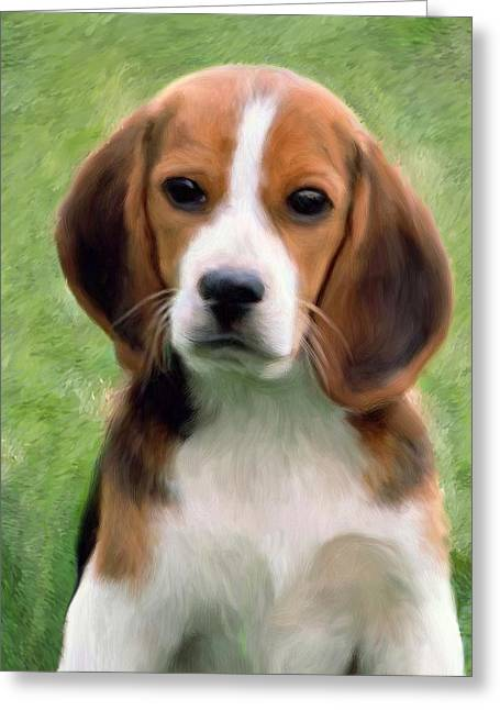 Puppies Mixed Media Greeting Cards - Puppy Portrait Greeting Card by Snake Jagger