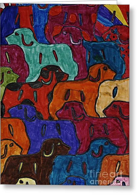 Burgundy Drawings Greeting Cards - Puppy Puzzle Greeting Card by Stephanie Ward