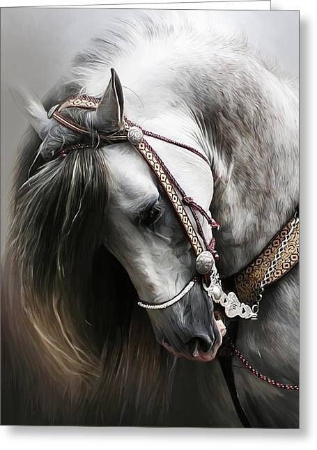 Equines Pastels Greeting Cards - Pura Spanish Elegance Greeting Card by Paul Miners