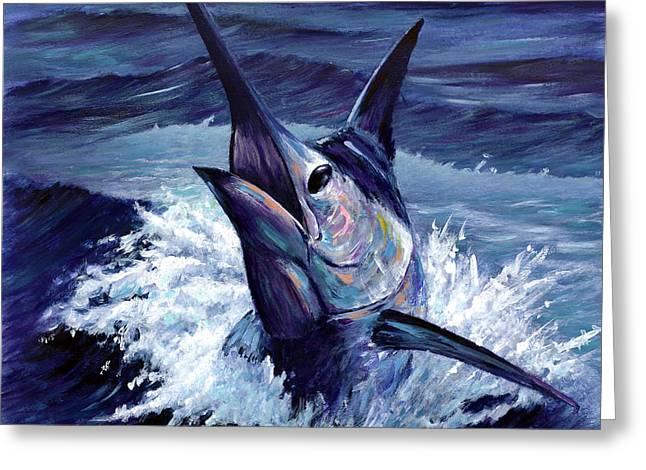 Striped Marlin Greeting Cards - Pura Vida Greeting Card by Rick Bogert