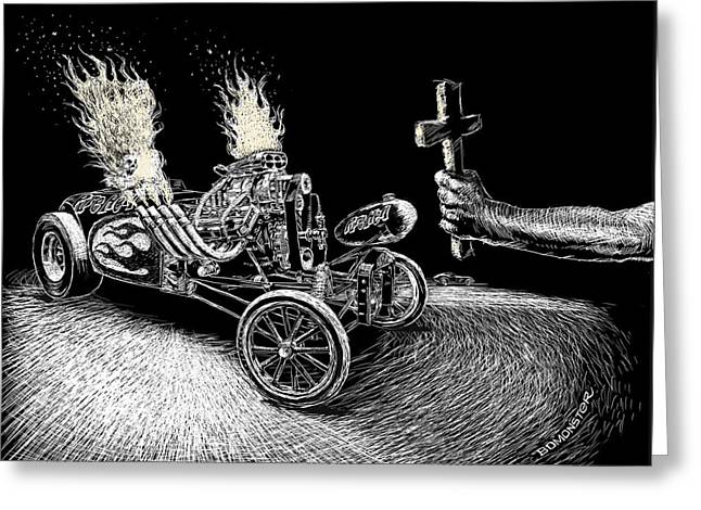 Hot Rodder Greeting Cards - Pure Hell Greeting Card by Bomonster