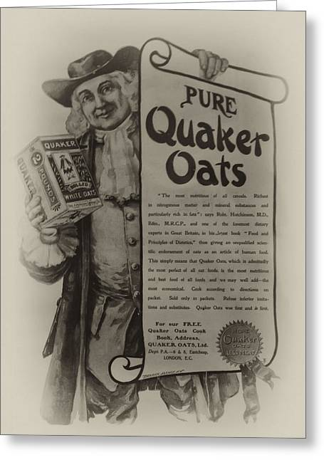 Quaker Oates Greeting Cards - Pure Quaker Oates Greeting Card by Bill Cannon