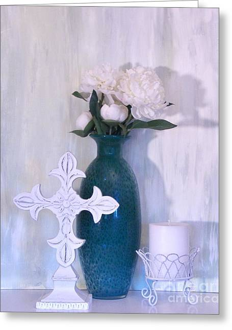 Candleholder Greeting Cards - Pure Whiteness Greeting Card by Marsha Heiken