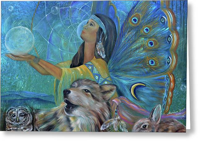 Native-american Greeting Cards - Purification Greeting Card by Sundara Fawn