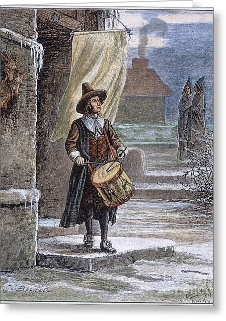 Deer Hat Greeting Cards - Puritan Church Drummer Greeting Card by Granger