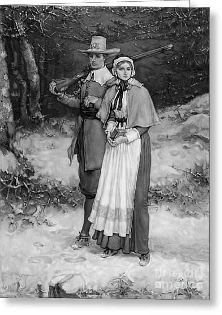 Protestantism Greeting Cards - Puritan Couple, 17th Century Greeting Card by Photo Researchers