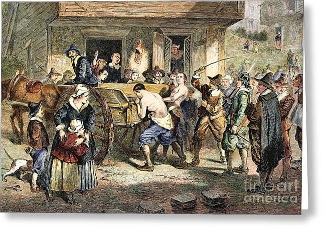 PURITANS: PUNISHMENT, 1670s Greeting Card by Granger