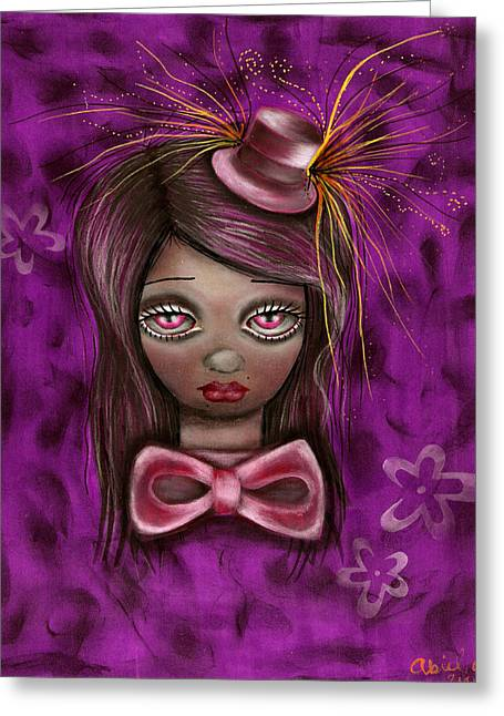 Mad Hatter Greeting Cards - Purple Greeting Card by  Abril Andrade Griffith