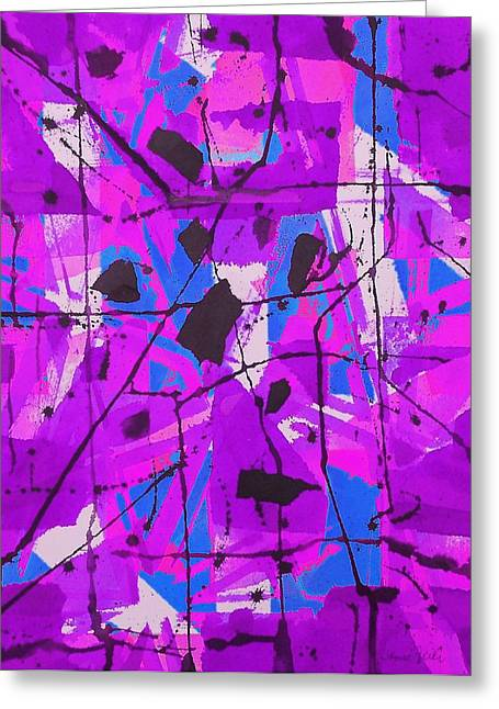 Fushia Greeting Cards - Purple Abstract Greeting Card by Jamie Frier