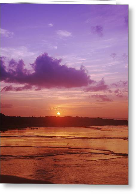 Purple And Orange Sunset Greeting Card by Vince Cavataio - Printscapes