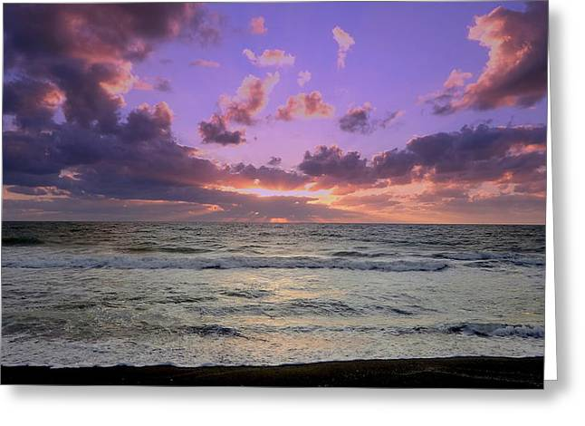 Nature Phots Greeting Cards - Purple and Teal Waves Greeting Card by Jeremy Smith