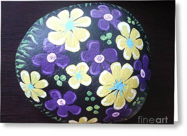 Purple and Yellow Flowers Greeting Card by Monika Dickson-Shepherdson