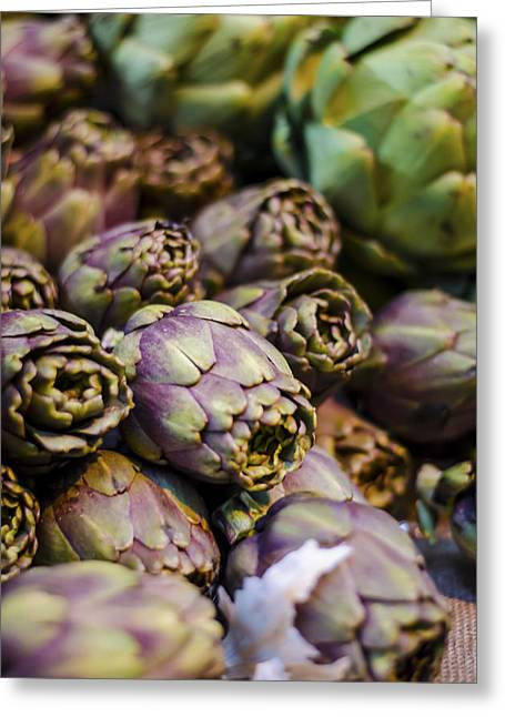 Cultivation Greeting Cards - Purple Artichokes At the Market Greeting Card by Heather Applegate