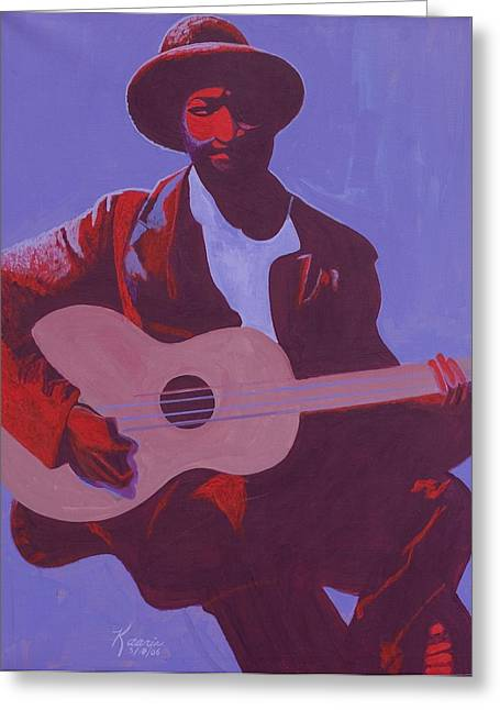 Black Man Paintings Greeting Cards - Purple Blues Greeting Card by Kaaria Mucherera