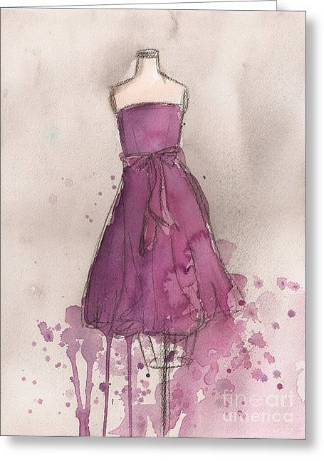 Strapless Dress Greeting Cards - Purple Bow Dress Greeting Card by Lauren Maurer