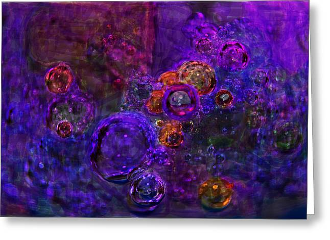 Emanates From Within Greeting Cards - Purple Bubbles Painting Greeting Card by Don  Wright