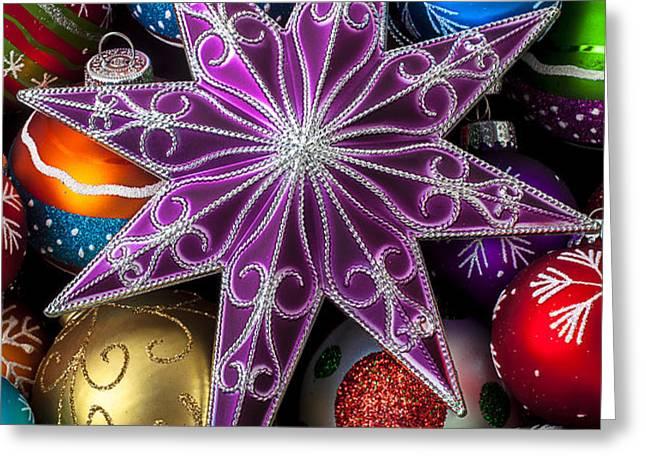 Purple Christmas Star Greeting Card by Garry Gay