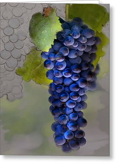 Purple Grapes Greeting Cards - Purple Cluster Greeting Card by Sharon Foster