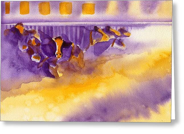Got Milk Greeting Cards - Purple Cows Greeting Card by Carolyn Curtice