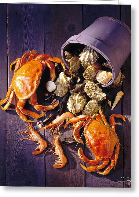 Craps Greeting Cards - Purple Crabs Greeting Card by Vance Fox