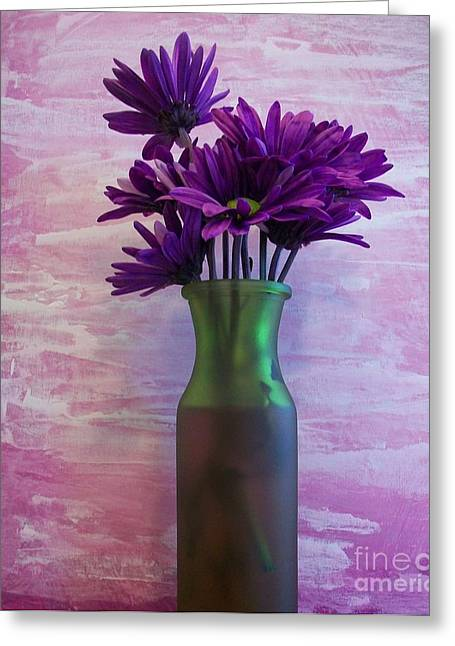 Floral Photos Mixed Media Greeting Cards - Purple Daisy Bouquet Greeting Card by Marsha Heiken