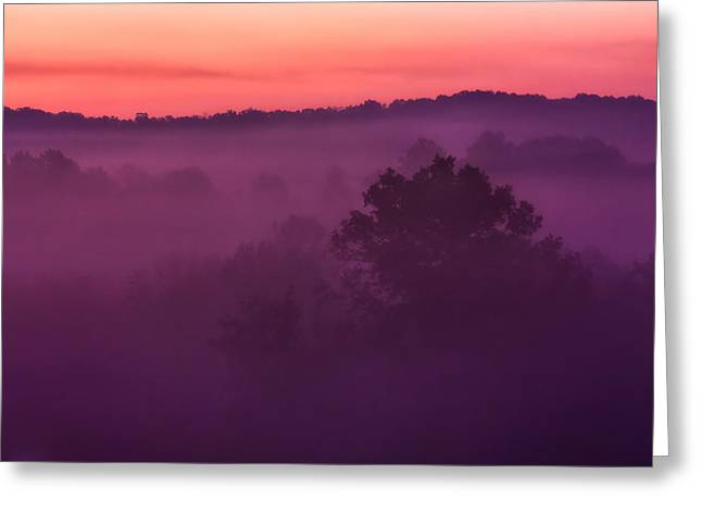 Haze Photographs Greeting Cards - Purple Dawn Greeting Card by Matt  Trimble