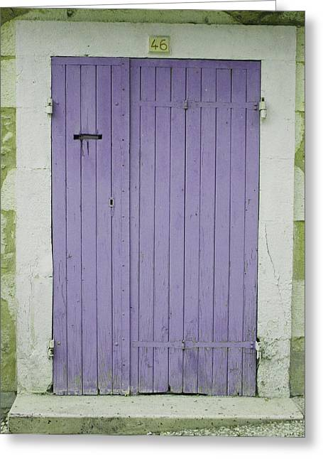French Door Greeting Cards - Purple Door Number 46 Greeting Card by Nomad Art And  Design