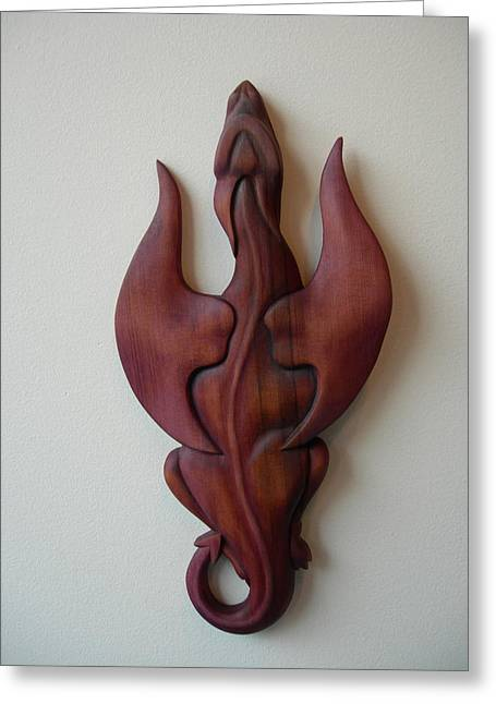 Norse Sculptures Greeting Cards - Purple Dragon Plaque Greeting Card by Shane Tweten