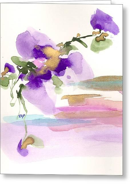 Purple Flower Greeting Card by Darlene Flood