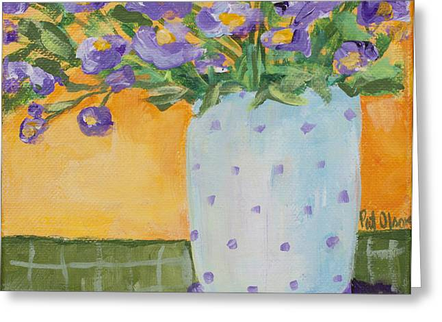 Dot Pastels Greeting Cards - Purple flowers and dots Greeting Card by Pat Olson