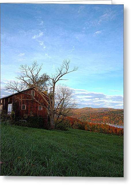 Keuka Greeting Cards - Purple Foot and Autumn Leaves Greeting Card by Joshua House