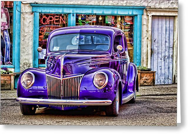 Florence Greeting Cards - Purple Ford DeLuxe Greeting Card by Carol Leigh