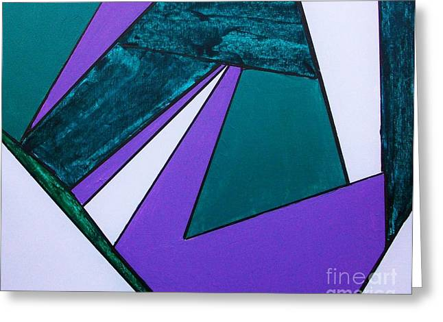 Geometric Shape Mixed Media Greeting Cards - Purple Geometric Greeting Card by Marsha Heiken