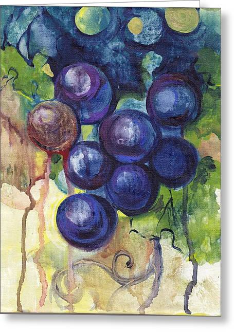 Purple Grapes Greeting Cards - Purple Grapes II  Greeting Card by Peggy Wilson