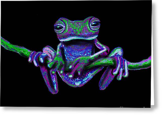 Amphibian Mixed Media Greeting Cards - Purple Green Ghost Frog Greeting Card by Nick Gustafson