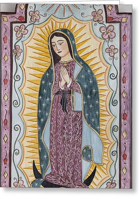 Virgin Of Guadalupe Art Greeting Cards - Purple Guadalupe Greeting Card by Ellen Chavez de Leitner
