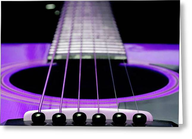 Purple Guitar 15 Greeting Card by Andee Design