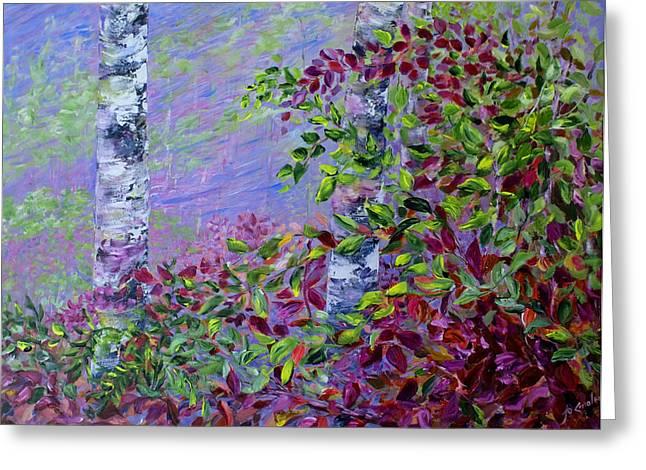 Haze Paintings Greeting Cards - Purple Haze Greeting Card by Joanne Smoley