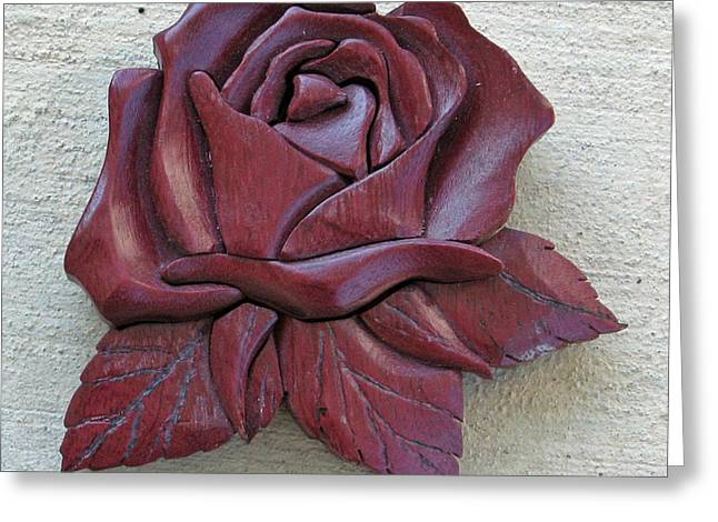 Roses Sculptures Greeting Cards - Purple Heart Rose Greeting Card by Bill Fugerer