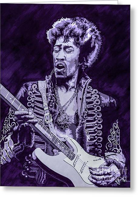 Haze Paintings Greeting Cards - Purple Hendrix Greeting Card by Jim Brown
