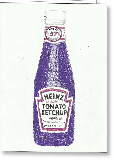 Heinz Ketchup Greeting Cards - Purple Ketchup Greeting Card by Jasmine Norris-Dixson