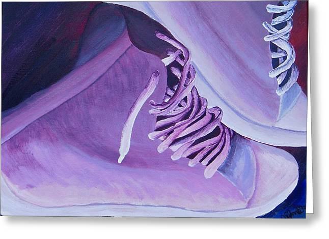 Sneakers Paintings Greeting Cards - Purple Kicks Greeting Card by Arianna Stone