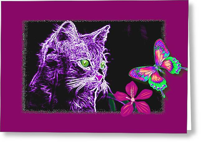 Kitten Greeting Cards - Purple Kitten Greeting Card by Tisha McGee