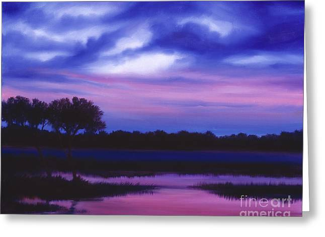 James Christopher Hill Greeting Cards - Purple Landscape or Jeans Clearing Greeting Card by James Christopher Hill