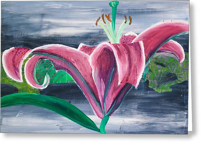 Relief Print Paintings Greeting Cards - Purple Lily on Grey Greeting Card by Samar Asamoah