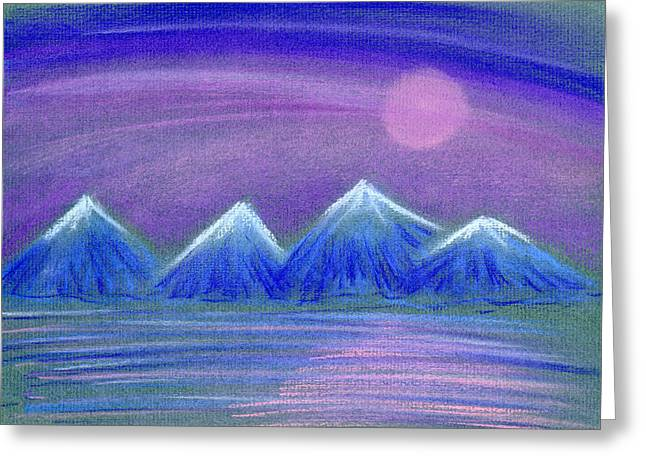 Sea Moon Full Moon Pastels Greeting Cards - Purple Night 3 Greeting Card by Hakon Soreide