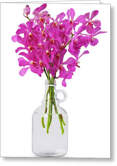 Reflex Greeting Cards - Purple Orchid In Bottle Greeting Card by Atiketta Sangasaeng