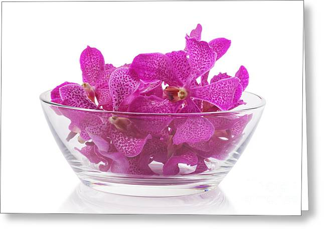 Spa-treatment Greeting Cards - Purple Orchid In Glass Bowl Greeting Card by Atiketta Sangasaeng